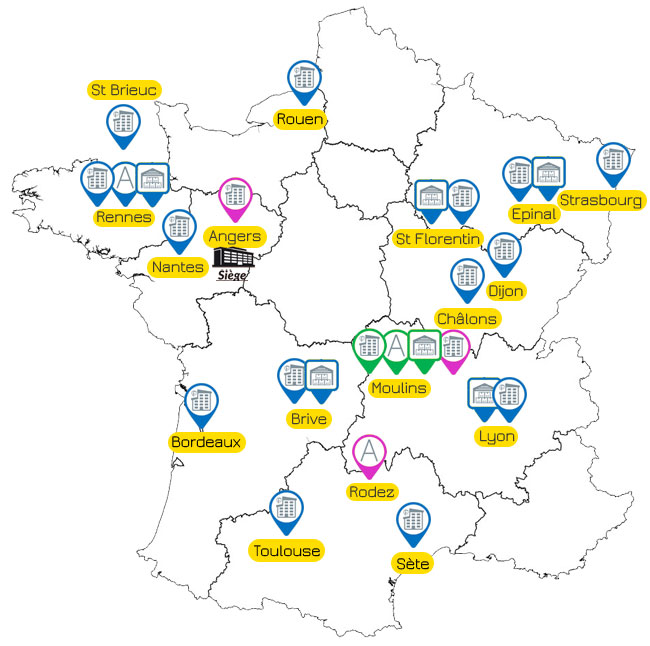 Carte implantations Groupe Findis